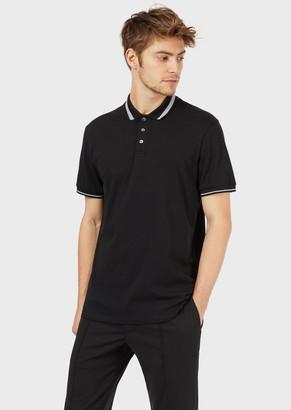 Emporio Armani Pique Polo Shirt With Piped Collar
