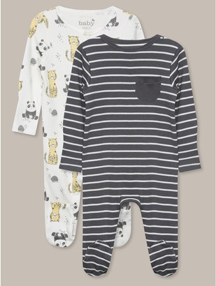 M&Co Panda sleepsuits two pack (tinybaby-18mths)