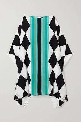 Louisa Parris - Harlequin Printed Silk Crepe De Chine Dress - Turquoise