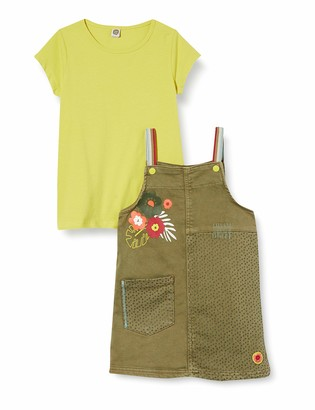 Tuc Tuc Green Denim Pinafore and T-Shirt Set for Girl Tropical Jungle
