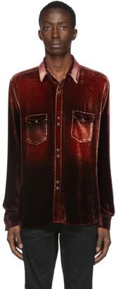 Saint Laurent Red Velvet Western Shirt