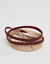 Asos Textured Bracelet Pack In Brown