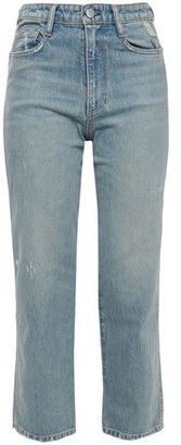 Simon Miller Cropped Distressed Faded High-rise Straight-leg Jeans
