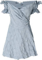 Jonathan Simkhai Smocked Gingham Mini Wrap off the shoulder dress