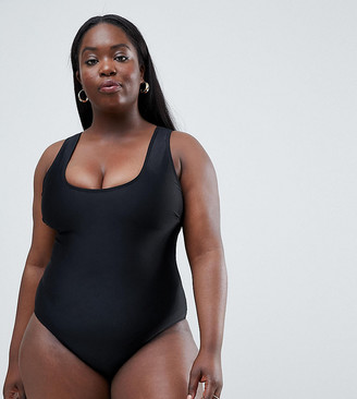 Wolf & Whistle Curve Exclusive scoop neck swimsuit in black