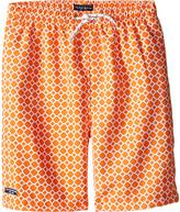 Toobydoo Orange Dot White Lace Drawstring Swim Shorts (Infant/Toddler/Little Kids/Big Kids)