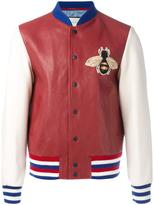Gucci embroidered bomber jacket - men - Lamb Skin/Cupro/Wool - 48