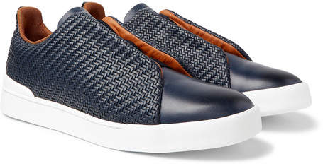Ermenegildo Zegna Triple Stitch Pelle Tessuta Leather Slip-On Sneakers - Men - Navy