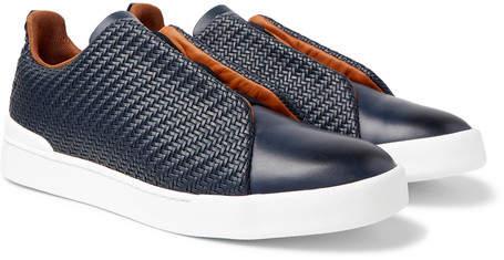 Ermenegildo Zegna Triple Stitch Pelle Tessuta Leather Slip-On Sneakers - Navy