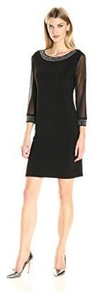 Tiana B Women's 3/4 Sheer Sleeve Dress with Beaded Neckline and Cuff