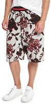 McQ by Alexander McQueen Floral-Print Sweat Shorts with Striped Trim, Gray