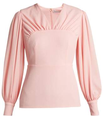 Emilia Wickstead Precious Gathered Crepe Blouse - Womens - Light Pink