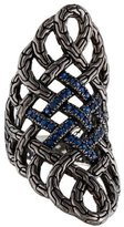 John Hardy Blue Sapphire Classic Chain Saddle Ring