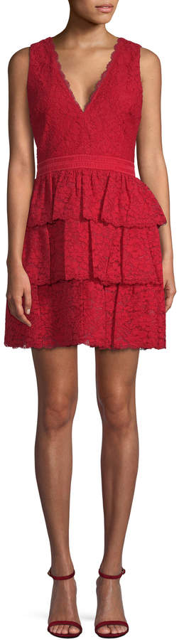 Alice + Olivia Women's Clora Layered Lace Mini Dress