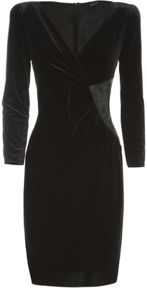 Emporio Armani Velvet Dress L/s V Neck W/crystall