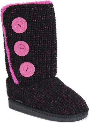 Muk Luks Girls Malena Boots-Black/Pink Fashion 2