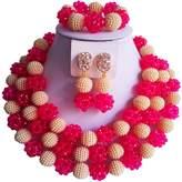 laanc 3Layer 18inch Fashion African Women's Jewelry Necklace Bracelet Nigeria Wedding Festive Jewelry Set