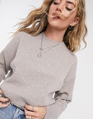 Bershka knitted jumper in beige marl