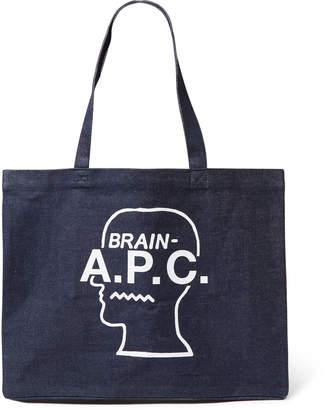A.P.C. + Brain Dead Logo-Print Indigo-Dyed Denim Tote Bag