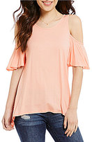 Soprano Cold Shoulder Sharkbite Hem Top