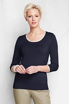 Classic Women's Regular 3/4 Sleeve Tipped Scoopneck Sweater-Pale Emerald