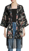 Miss Me Floral Kimono with Fringe Trim, Black