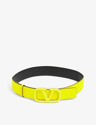 Valentino V-ring logo leather belt