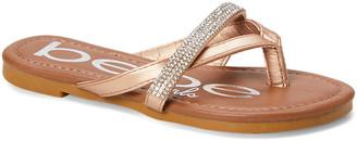 bebe girls Girls' Sandals ROSE - Rose Gold Rhinestone Crisscross Sandal - Girls