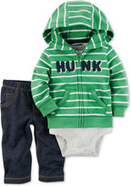 Carter's 3-Pc. Hunk Hoodie, Bodysuit & Jeans Set, Baby Boys (0-24 months)