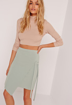 Missguided Crepe Tie Front Wrap Mini Green