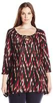 Notations Women's Plus Size 3/4 Sleeve Lace up V Neck Printed Knit Sharkbite Hem Top