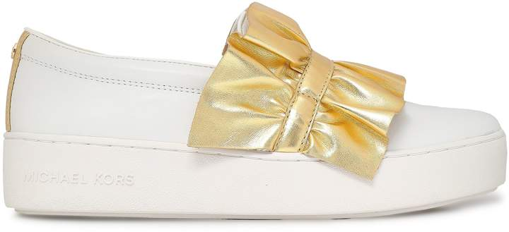 MICHAEL Michael Kors Metallic Ruffled Leather Sneakers