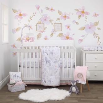 NoJo Girls Watercolor Deer 4 Piece Nursery Crib Bedding Set