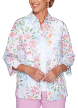 Alfred Dunner Garden Party Floral-Print Layered-Look Top
