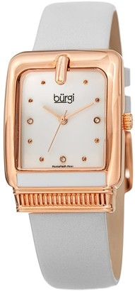 Burgi Ladies Diamond Buckle Case White Leather Strap Watch
