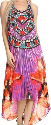 Sakkas P11 - Aramis Printed Long Draped Accent O Ring Crisscross Strappy Maxi Dress - 17002-Purple - OS
