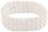 Bella Pearl White Cultured Pearl Triple-Row Stretch Bracelet
