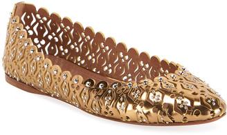 Alaia Laser-Cut Studded Ballet Flats