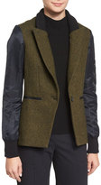 Veronica Beard Wisteria Colorblock Flight Blazer, Army Green/Black