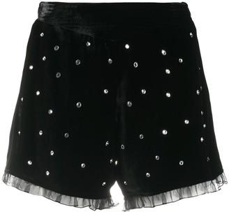 Philosophy di Lorenzo Serafini Crystal-Embellished Velvet Shorts