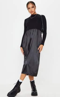 PrettyLittleThing Black Long Sleeve Satin Skirt Midi Dress