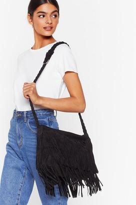 Nasty Gal Womens WANT Crossbody My Mind Fringe Bag - Black - One Size