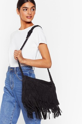 Nasty Gal Womens WANT Crossbody My Mind Fringe Bag - Black