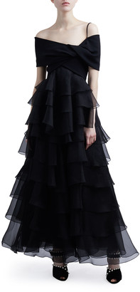 Giambattista Valli Off-the-Shoulder Tiered Ruffle Tulle Gown