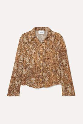 Nanushka Alena Snake-print Crinkled-voile Shirt - Brown