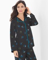 Soma Intimates Long Sleeve Notch Collar Top Poetic Floral Black
