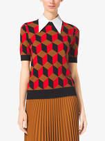 Michael Kors Hexagon Short-Sleeve Cashmere Sweater