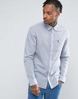 Original Penguin Stripe Shirt Slim Fit Slub Linen In Navy