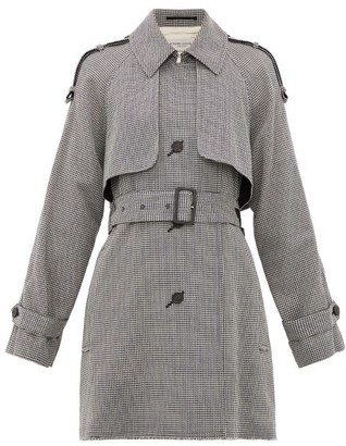 Golden Goose Serenity Short Houndstooth Trench Coat - Grey