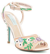 Betsey Johnson Blue by Dylan Floral-Embroidered Mesh Dress Sandals